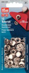 PRYM fém patent utántöltő (15 mm, ezüst)