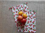 Öko zsák megkötős (mintás pamut vászonból) - cseresznye 2 db/csomag