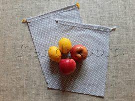 Öko zsák megkötős (mintás pamut vászonból) - szürke-fehér pöttyös 2 db/csomag
